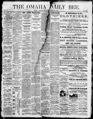 Omaha Daily Bee Gazetesi 27 Nisan 1874 kapağı