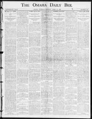 THE OMAHA DAILY BEE. NINETEENTH YEAH. OMAHA , TUESDAY MORNING , APEIL 15 , 1890. NUMBER 205. THE JiKAGLE CASE DECIDED ,...