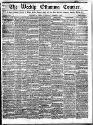 The Weekly Ottumwa Courier Gazetesi 2 Nisan 1857 kapağı
