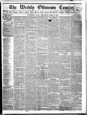 The Weekly Ottumwa Courier Gazetesi 9 Nisan 1857 kapağı