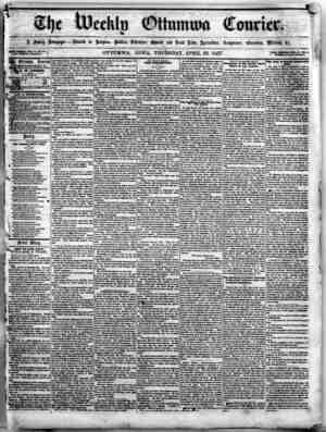 The Weekly Ottumwa Courier Gazetesi 23 Nisan 1857 kapağı