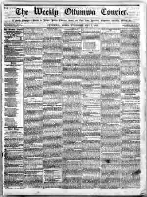 The Weekly Ottumwa Courier Gazetesi 7 Mayıs 1857 kapağı