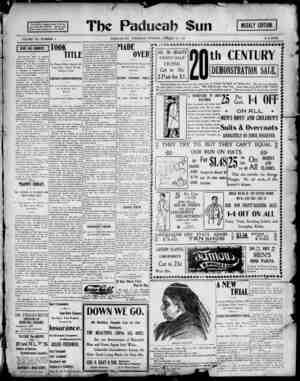 Paducah Sun Gazetesi 24 Ocak 1901 kapağı