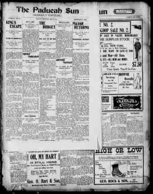 Paducah Sun Gazetesi 23 Mayıs 1901 kapağı
