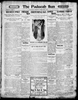 Paducah Sun Gazetesi 3 Temmuz 1901 kapağı