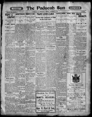 Paducah Sun Gazetesi 13 Kasım 1901 kapağı