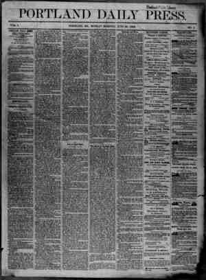 Portland Daily Press Gazetesi 23 Haziran 1862 kapağı