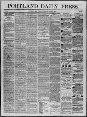 Portland Daily Press Gazetesi 1 Temmuz 1862 kapağı