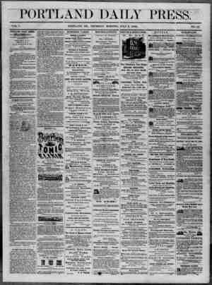 Portland Daily Press Gazetesi 3 Temmuz 1862 kapağı