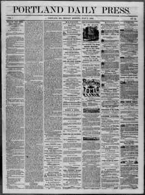 Portland Daily Press Gazetesi 7 Temmuz 1862 kapağı
