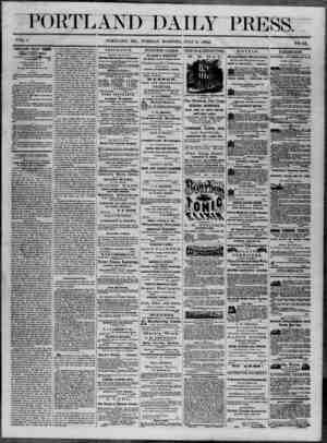 Portland Daily Press Gazetesi 8 Temmuz 1862 kapağı