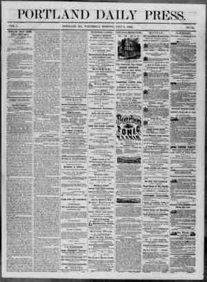 Portland Daily Press Gazetesi 9 Temmuz 1862 kapağı