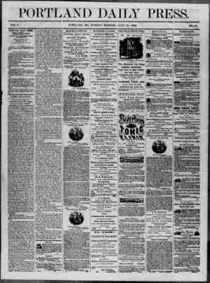 Portland Daily Press Gazetesi 15 Temmuz 1862 kapağı