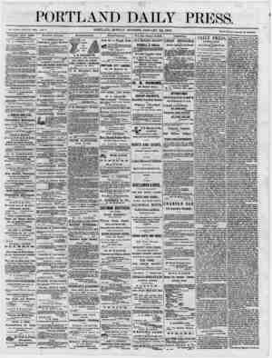 "PORTLAND DAILY PRESS. Established June 23, 1802. Vol. «■ PORTLAND, MONDAY MORNING, JANUARY 22, 1866. "" """" _ _ _ .'_'_ term."