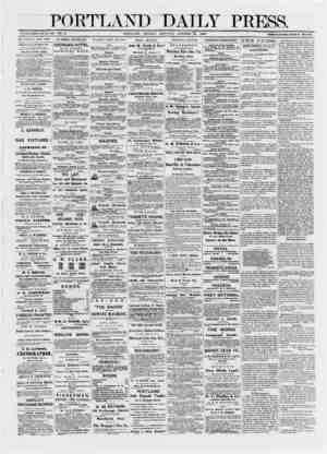 PORTLAND DAILY PRESS. ESTABLISHED JUNE 23, 1862. VOL. 11. PORTLAND, MONDAY MORNTNG. OCTOBER 20, 1872. TERMS $8.00 PER ANNUM