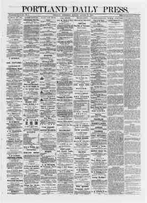 PORTLAND DAILY PRESS. ESTABLISHED JUNE 23, 1862. VOL. II. PORTLAND, WEDNESDAY MOHNfNG. OCTOBEb' 23. 1872. TBBMS $8.00 PEB...