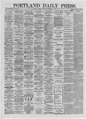 PORTLAND ESTABLISHED JUNE 23, 1862. VOL. 11. PORTLAND, TUESDAY DAILY PRESS. liORNfNG, NOVEMBER 5, 1872. TERMS $8.00 PER ANNUM