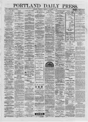 PORTLAND ESTABLISHED JUNE 23, 1862. TOL. 11. POKTLAND, THURSDAY DAILY PRESS. » ·« 'ill — MORN TNG, NOVEMBER 14, 1872....