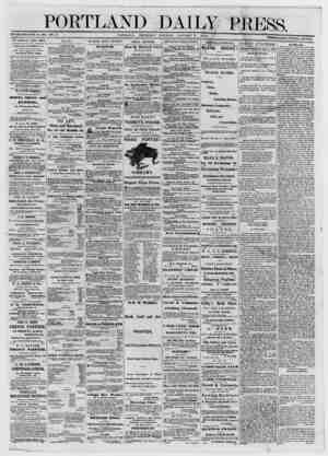 PORTLAND ESTABLISHED JUNE 23, 1862. VOL.12. PORTLAND, THURSDAY DAILY PRESS. MO Η Ν Γ IS G JANUARY 9, 187 3. TERMS «a πλ β®»