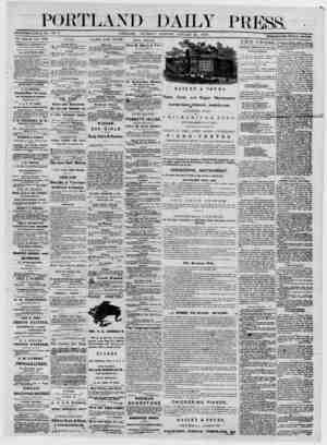 """PORTLAND DAILY Ρ RESS. Ε StTb LIS ilLI) J UN Ε VOL. 12. PORTLAND. THURSDAY MORNING, JANUARY 23, 1873. * """" TERMS $8.00 PEE..."""