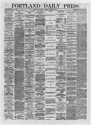 ESTABLISHED JÛNE 23, 1862. TOL. 12. PORTLAND, THURSDAY MORNING, MARCH 13, 1873. THF PORTLAND DAILY PRESS Published 07ery day