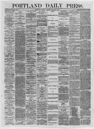 PfVRTTiANP DAILY PRESS. ' ■ . pTvrtt. A~TCT> TTTrm^nA^ MORNING, MARCH 20, 1873 TERMS $8.00 PER ANNUM IN ADVANCE. ESTABLISHED