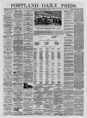 PORTLAND DAILY PRESS. ESTABLISHED JUNE 23. 1862. VOL. 12. PORTLAND, THURSDAY MORNING, APRIL 3, 1873._TERMS $8.00 PER ANNUM IN