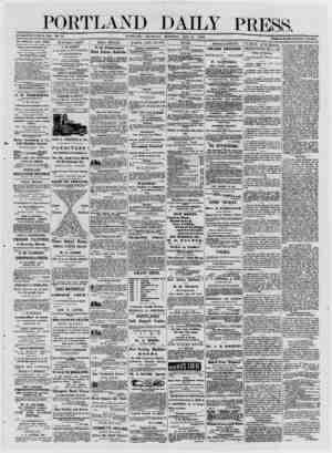 PORTLAND DAILY PRESS. ESTABLISHED JUNE 23, 1862. YOL. 12. PORTLAND THCJRSDAT MORNING, MAY 8, 1873 -~ —'' : - - ■ — - - - - '