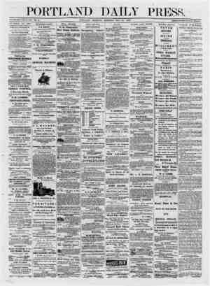 ■ 1 ■ ESTABLISHED JUNE 23. 1862. VOL. 12. _ PORTLAND THURSDAY THF I'OHTLAM) DAILY PRESS Published every day (Sundays...