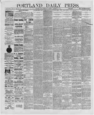 PORTLAND DAILY PRESS. ESTABLISHED JUNE 23, 1862-VOL. 29. PORTLAND, MAINE, WEDNESDAY MORN IN O. DECEMBER >0. 1BS0._j i PRICE
