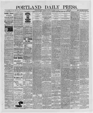 PORTLAND DAILY PRESS. ESTABLISHED JUNE 23. 1862 VOL 29 PORTLAND, MAINE, THURSDAY MORNING DECEMBER 18, 1890. _ PRICE 17 A...