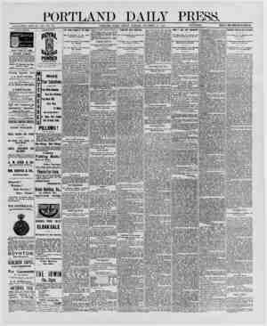 "PORTLAND DAILY PRESS. ESTABLISHED JUNE 23, 1862-VOL *29 PORTLAND, MAINE FRIDAY MORNING DECEMBER 19, 1890. {SS»BS""iSrnS} PRICK"