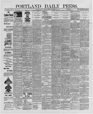 PORTLAND DAILY PRESS. ESTABLISHED JUNE 23, 1862* VOL 29 PORTLAND, MAINE. MONDAY MORNING. DECEMBER 22, 1890.__PRICE $7 A YEAR,