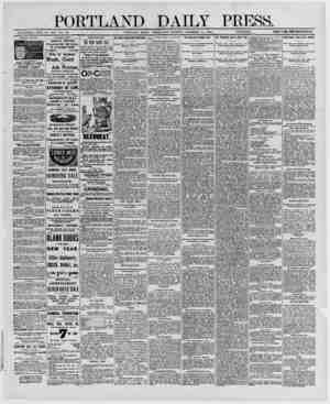PORTLAND DAILY PRESS. ESTABLISHED JUNE 23 1862 VOL 29. PORTLAND MAINE WEDNESDAY MORNING, DECEMBER 31, 1890.__PRICK S7 A YEAR,
