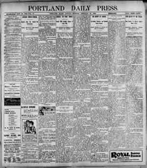 """PORTLAND DAILY PRESS. - M ——-=— """" —»■' 1 ■ -- -- -igusja'- JL-""""~ """" — ESTABLISHED JUNK 23. 18H2-VOL. 37. PORTLAND. MAINE...."""