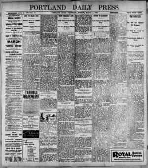 PORTLAND DAILY PRESS ESTABLISHED JUNE 23. 1832-VOL. 37. PORTLAND. MAINE, WEDNESDAY MORNING, MARCH 1,...