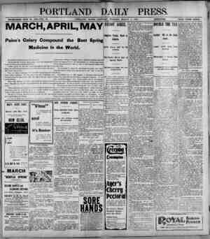 PORTLAND DAILY PRESS. ESTABLISHED JUNE 23. 1802-VOL. 37. PORTLAND, MAINE. SATURDAY MORNING, MARCH 4, 1895). lHA'JgBU PRICE
