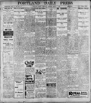 PORTLAND DAILY PRESS. ESTABLISHED JUNE 88. 18U8-TOL. PORTLAND. MAINE. THURSDAY MORNING, MARCH 1H9U.__ PRICE THREE CENTS....