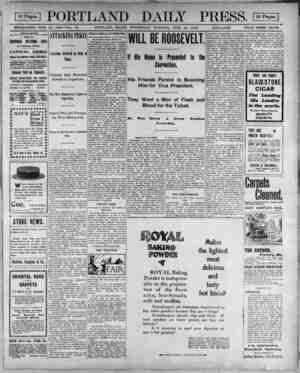 EEEI PORTLAND DAILY PRESS. ESTABLISHED JUNE 23, 1862-VOL. 38. PORTLAND, MAINE, WEDNESDAY MORNING, JUNE 20, 1900. !SSTS.iUSS!