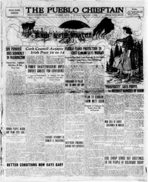The Pueblo Chieftain Gazetesi 1 Ocak 1922 kapağı
