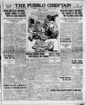 The Pueblo Chieftain Gazetesi 2 Ocak 1922 kapağı