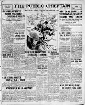 The Pueblo Chieftain Gazetesi 11 Ocak 1922 kapağı