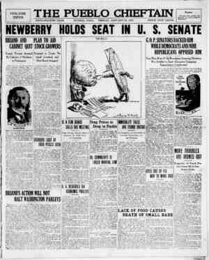 The Pueblo Chieftain Gazetesi 13 Ocak 1922 kapağı