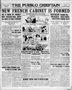 The Pueblo Chieftain Gazetesi 15 Ocak 1922 kapağı