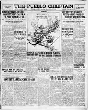The Pueblo Chieftain Gazetesi 16 Ocak 1922 kapağı