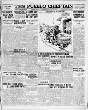 The Pueblo Chieftain Gazetesi 19 Ocak 1922 kapağı