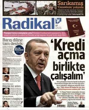 Radikal Gazetesi 7 Ocak 2013 kapağı