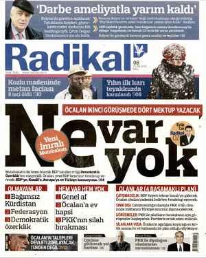 Radikal Gazetesi 8 Ocak 2013 kapağı