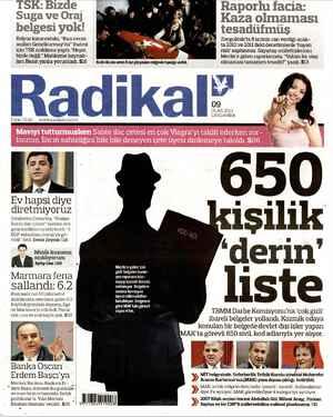 Radikal Gazetesi 9 Ocak 2013 kapağı