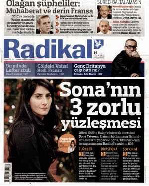 Radikal Gazetesi 14 Ocak 2013 kapağı